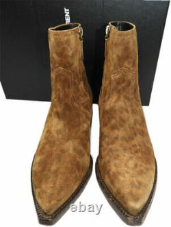 $1190 Ysl Saint Laurent LUKAS Western Leopard Ankle Boots Riding Bootes 37.5