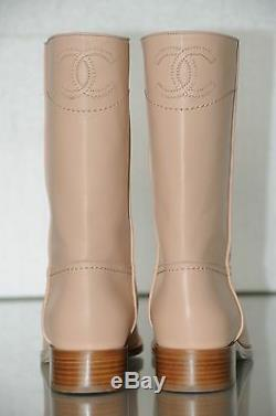$1325 NEW CHANEL Ascot Light Beige Leather Riding Flat BOOTS CC logo 41.5 39 38