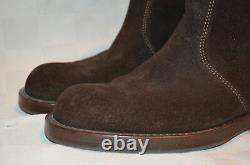 $1325 Sz 37 6.5 Gucci Brown Suede Horsebit Ankle Boots Moto Riding Booties