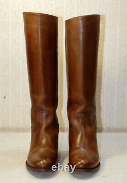 1600$ PRADA knee high brown leather riding equestrian boots 36 = 37 us6-6.5 uk4