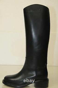 $1725 New Chanel Black Calfskin Leather Knee High Riding Flat Boots Shoe 35 35.5