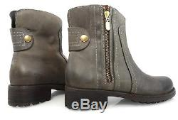 $175 MADE IN ITALY ACCADEMIA LEATHER MOTO BIKER RIDING COMBAT BOOTS Womens 40 10