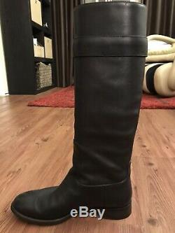 $1,690 Louis Vuitton LV Black Knee Legacy Flat High Pull On Riding Boots 37