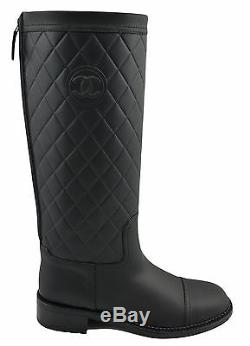 $1.900 CHANEL Black Leather Knee High QUILTED Biker Riding Boots 39.5 / 9.5
