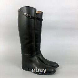 $2625 Hermes Ladies Black Leather Kelly Jumping Riding Knee High Boots Size 37.5