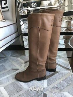 +$2K Chanel Women Leather Logo Back Knee High Riding Boots Ascot Brown Size 37.5