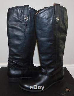 $368 NEW Womens FRYE MELISSA BUTTON TALL BLACK LEATHER EQUESTRIAN RIDING BOOTS 8