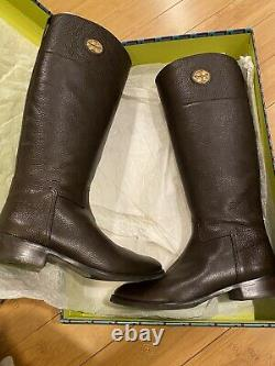 $495 EUC RARE TORY BURCH JUNCTION Sz 10 RIDING KNEE BOOT TUMBLED BROWN LEATHER