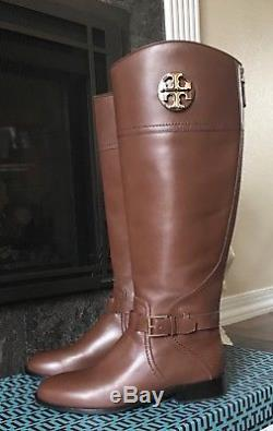 $498 NIB Tory Burch Women's Adeline 20MM Leather Riding Tall Boots 9M BROWN