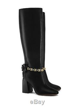 $550 NEW IN BOX TORY BURCH Women's Blossom Leather 90mm Knee Boot Black Size 8.5