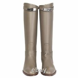55324 auth HERMES Etain taupe leather JUMPING Knee-High Riding Boots Shoes 40