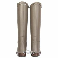 55325 auth HERMES Etain taupe leather JUMPING Knee-High Riding Boots Shoes 38