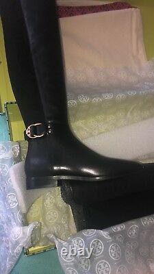 $578 NEW Tory Burch Sz 8.5 Marsden Over the Knee Boot Leather Black Logo