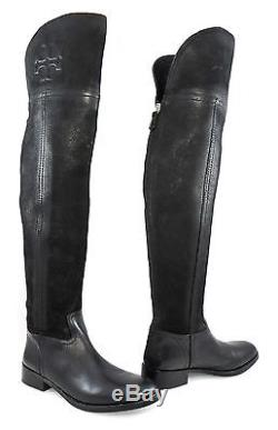 $595 Tory Burch Simone Over The Knee Tall Riding Boots Zip Flat ...