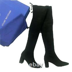 $795 NEW Stuart Weitzman Lesley Black Suede Leather Over The Knee Boot Size 37.5