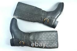 Amazing GUCCI Gray Leather GUCCISSIMA Riding Boots 40 US10 Made in Italy