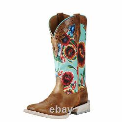 Ariat 10019943 Circuit Champion 12 Floral Seafoam Square Toe Green Cowgirl Boot