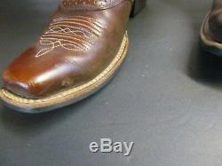 Ariat Tall Cowboy Western Boot Brown Red Embroidered Riding Women Sz 8.5 B Rare