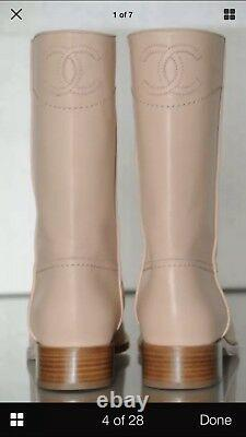 Auth. $1325 New 2013 Chanel Riding Military Boots Flats Light Beige CC Logo 38/7