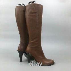 Auth Alexander McQueen Brown Leather Knee High Boot Tall Shoes Size 39 US9 UK6
