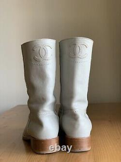 Authentic Chanel Light Gray Leather CC Logo Western Riding Boots Size EU 38 US 8
