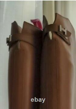 Authentic HERMES Vintage Jumping Riding Boots Tan Leather UK 7 (40)