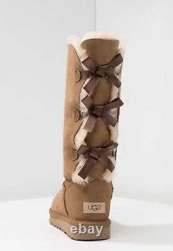 Authentic UGG Brand Women's Shoes Sheepskin Bailey Bow Tall II Boots Chestnut