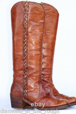 BEAUTIFUL Vtg black label Frye braided leather campus riding boots 7.5 B! (@@)