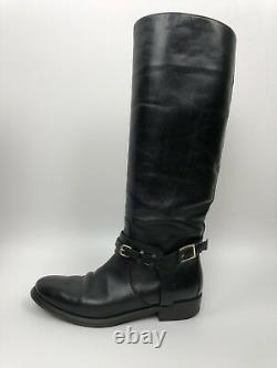 BURBERRY Adelaide Black Leather Zip Tall Knee high Equestrian Riding Boots 37 7
