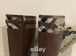 BURBERRY Dougal Flat Knee-high Brown Leather Riding Boots +dustbag Women Size 39