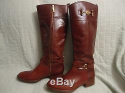 B-135 Auth Tory Burch Brown Leather nadine' Riding Boot (WOMEN) Sz 10 1/2 M