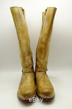 Bed Stu Bench Made Brown Leather Zip Up Buckle Harness Riding Boots Women's 7