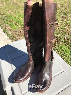 Bed Stu Boots Women's 9 M Handcrafted Brown Distressed Leather Full Side Zippers