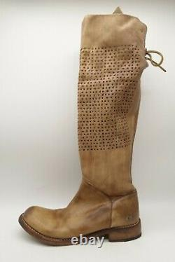 Bed Stu Cobbler Series Brown Distressed Leather Tall Knee High Boots Women's 8.5