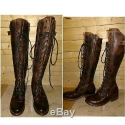 Bed Stu Della boots Teak Rustic brown Tall Leather Lace up Riding Women's size 6