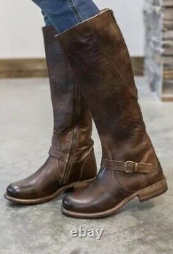 Bed Stu Glaye Teak Rustic Distressed Leather Riding Boots Size 7.5 Womens