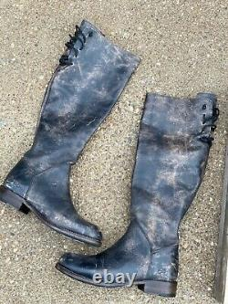 Bed Stu Manchester II Boots Black Lux Distressed Leather Riding Tall Size 9.5 M
