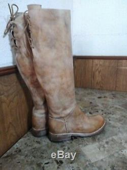Bed Stu Manchester II Boots Tan Rustic Distressed Leather Riding Tall Size 8.5