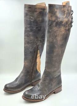 Bed Stu Women Riding Boots Manchester II Size US 9.5 Black Distressed Leather