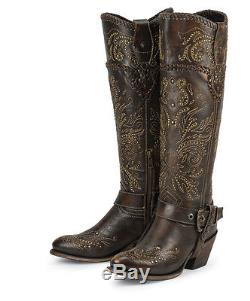Black Star ANDROMEDA BROWN Womens Cowboy Fashion Riding Boots New All Leather