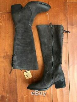 Born Felicia Riding Tall Boots Grey Suede Lace Up Size 7 New in Box $239