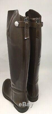 Brunello Cucinelli Patent Leather Womens Riding Boots, Brown, 37