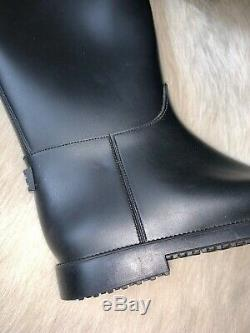 Burberry Roscot NEW Riding Rain Boots Belted Black 37 7 Equestrian Rubber