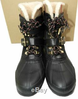 Burberry Windmere Shearling Fur Lined Snow Boots Buckles Riding Ankle Booties 41