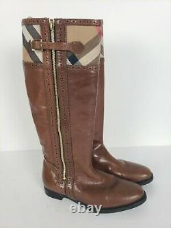Burberry Womens Brown Leather Knee High Riding Boots Sz EU 39 US 8