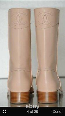 CHANEL Authentic Beige CC Logo Leather Riding Flat BOOTS 38 Auth New $1325