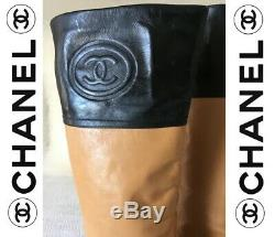 CHANEL Authentic Knee High Two Tone Leather Boots Sz39 RRP $2200AU NO RESERVE