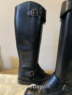 CHANEL Black Leather Polo Riding Buckled Knee High Tall Flat Boots 39 $2150