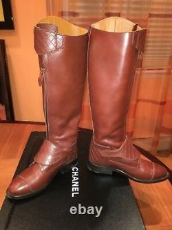 CHANEL Brown Leather Polo Riding Buckled Knee High Tall Flat Boots $2150