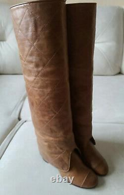 CHANEL CC Logo Brown Quilted Foldover Knee High Block Heel Boots 37